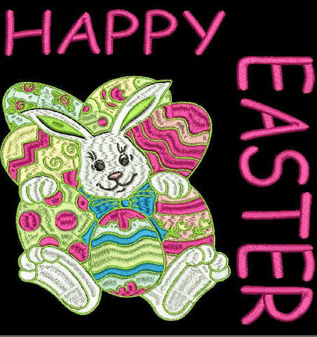 Happy Easter with Bunny and words Machine Embroidery Design 4X4, and 8X12 Hoop