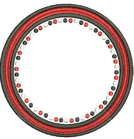 Georgia Polka Dot Circle Frame Machine Embroidery Design 4X4 5X7 6X10 and 8X12