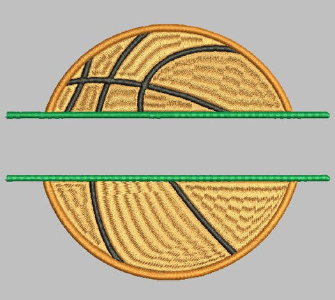BASKETBALL SPLIT DESIGN Machine Embroidery Design 4X4 8X12