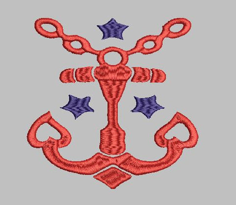 Anchor with Stars Machine Embroidery Design 4X4 5X7