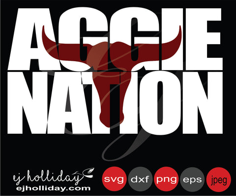 Aggie Nation Bull  Knockout 19 svg eps png dxf jpeg jpg vector Graphic Design Digital Cutting File Instant Download Cameo Silhouette Cricut