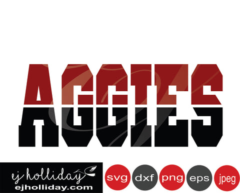 Aggies two toned letters 19 SVG EPS DXF JPG JPEG VECTOR Graphic Design Digital Cutting File Instant Download Cameo Silhouette Cricut