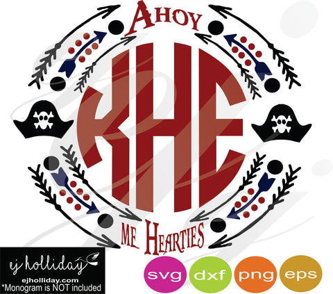 Ahoy me hearties SVG EPS DXF PNG VECTOR Graphic Design Digital Cutting File Instant Download Cameo Silhouette Cricut