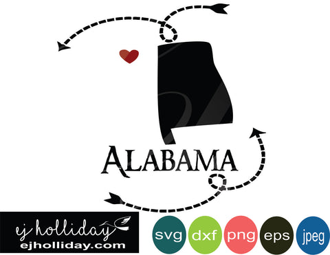 Alabama Silhouette Heart and arrows 18 svg eps dxf png jpeg jpg VECTOR Graphic Design Digital Cutting File Instant Download Cameo Silhouette Cricut