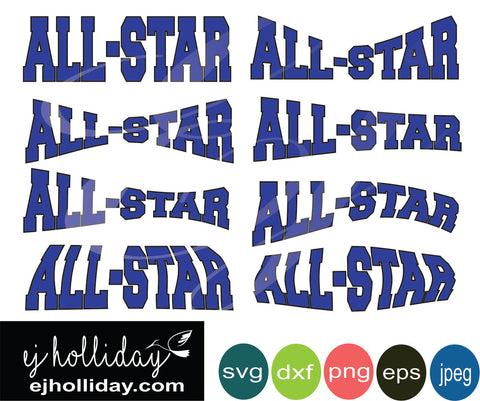 All-Star Curved SVG DXF PDF JPG JPEG VECTOR Graphic Design Digital Cutting File Instant Download Cameo Silhouette Cricut