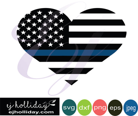 American Flag Heart Blue Stripe 18 svg eps dxf png jpeg jpg VECTOR Graphic Design Digital Cutting File Instant Download Cameo Silhouette Cricut