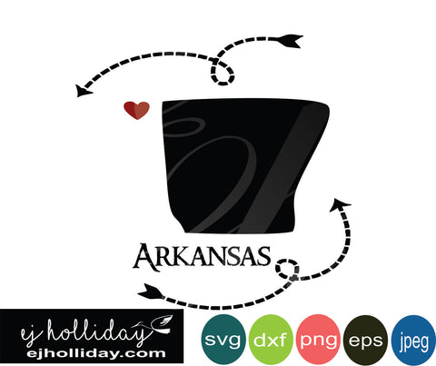 Arkansas silhouette heart arrow 18 svg eps dxf png jpeg jpg VECTOR Graphic Design Digital Cutting File Instant Download Cameo Silhouette Cricut