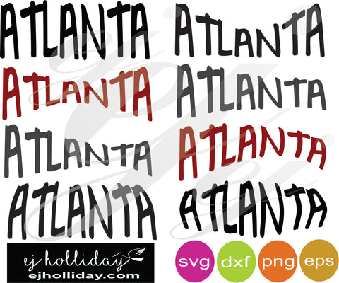 Atlanta Curved SVG EPS DXF PNG VECTOR Graphic Design Digital Cutting File Instant Download Cameo Silhouette Cricut