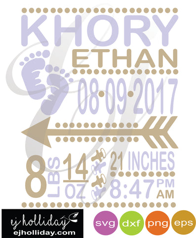 Baby Boy Birth Announcement  SVG EPS DXF PNG VECTOR Graphic Design Digital Cutting File Instant Download Cameo Silhouette Cricut