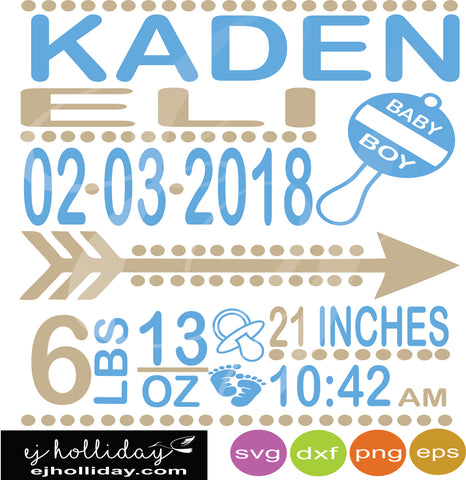 Baby Boy Rattle Birth Announcement svg dxf eps png Vector Graphic Design Digital Cutting File Instant Download Cameo Silhouette Cricut