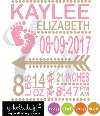 Baby girl Birth Announcement  SVG EPS DXF PNG VECTOR Graphic Design Digital Cutting File Instant Download Cameo Silhouette Cricut