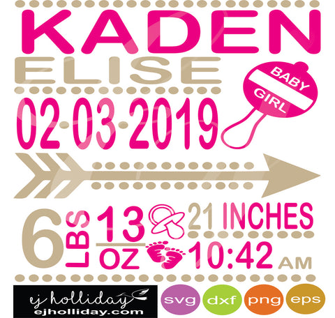 Baby girl rattle birth announcement gray blocks svg eps jpeg jpg png dxf Graphic Design Digital Cutting File Instant Download Cameo Silhouette Cricut