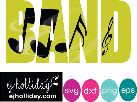 Band knockout svg dxf eps png Vector Graphic Design Digital Cutting File Instant Download Cameo Silhouette Cricut