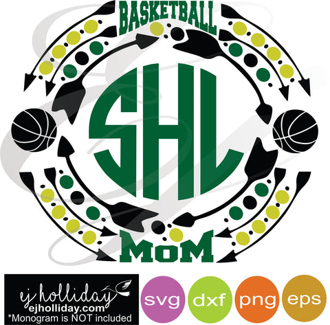 Basketball Mom Sports Monogram Frame svg dxf eps png VECTOR Graphic Design Digital Cutting File Instant Download Cameo Silhouette Cricut