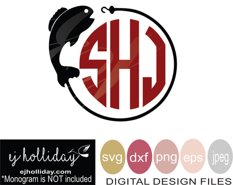 Bass Fishing Monogram 19 svg eps png dxf jpeg jpg VECTOR Graphic Design Digital Cutting File Instant Download