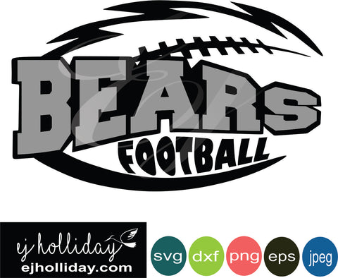 Bears Football Layered Knockout svg eps jpeg jpg png dxf Graphic Design Digital Cutting File Instant Download Cameo Silhouette Cricut