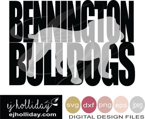 Bennington Bulldogs knockout  svg eps png dxf jpeg jpg VECTOR Graphic Design Digital Cutting File Instant Download Cameo Silhouette Cricut