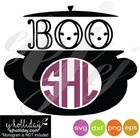 Black Cauldron Monogram Boo SVG EPS DXF PNG VECTOR Graphic Design Digital Cutting File Instant Download Cameo Silhouette Cricut