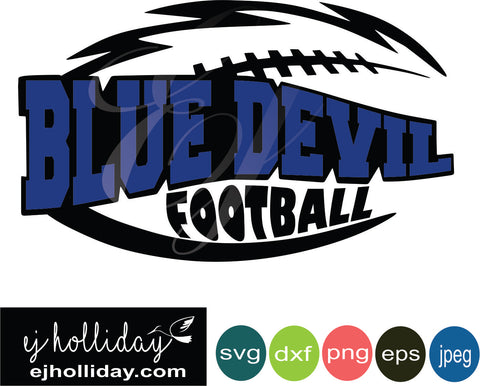 Blue Devil Football Layered Knockout svg dxf eps png jpeg jpg Vector Graphic Design Digital Cutting File Instant Download Cameo Silhouette Cricut