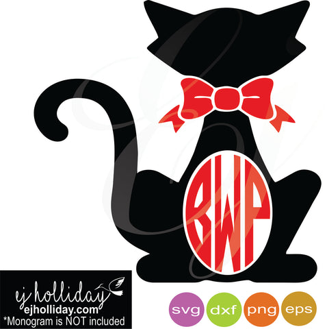 Bowtie Cat monogram svg dxf eps png Vector Graphic Design Digital Cutting File Instant Download Cameo Silhouette Cricut