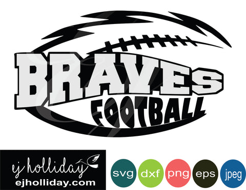 Braves High School Football Layered Knockout svg eps jpeg jpg png dxf Graphic Design Digital Cutting File Instant Download Cameo Silhouette Cricut