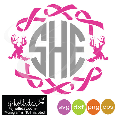 Breast Cancer Ribbon Monogram svg dxf eps png Vector Graphic Design Digital Cutting File Instant Download Cameo Silhouette Cricut