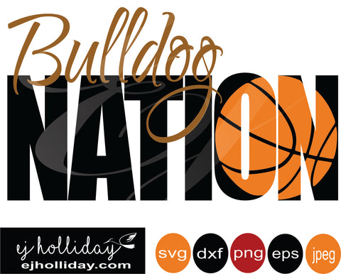 Bulldog Basketball knockout 19 svg eps png dxf jpeg jpg VECTOR Graphic Design Digital Cutting File Instant Download Cameo Silhouette Cricut