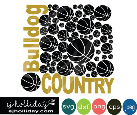 Bulldog Country Basketball svg eps png dxf jpeg jpg VECTOR Graphic Design Digital Cutting File Instant Download Cameo Silhouette Cricut