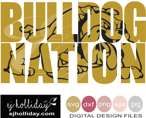 Bulldog Nation 19 knockout svg eps png dxf jpeg jpg VECTOR Graphic Design Digital Cutting File Instant Download Cameo Silhouette Cricut