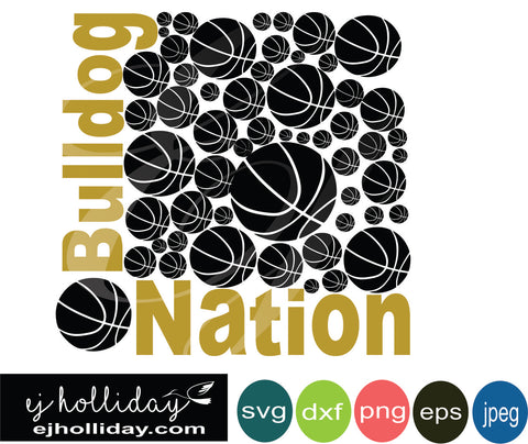 Bulldog Nation Basketball svg eps png dxf jpeg jpg VECTOR Graphic Design Digital Cutting File Instant Download Cameo Silhouette Cricut