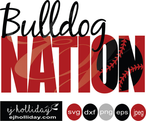 Bulldog Nation Knockout baseball 19 svg eps png dxf jpeg jpg vector Graphic Design Digital Cutting File Instant Download Cameo Silhouette Cricut