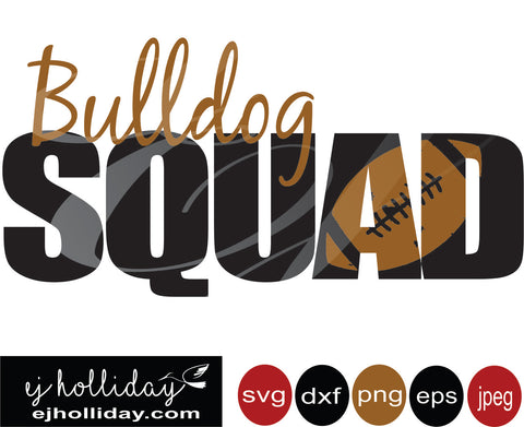 Bulldog Squad football 19 svg eps png dxf jpeg jpg vector Graphic Design Digital Cutting File Instant Download Cameo Silhouette Cricut