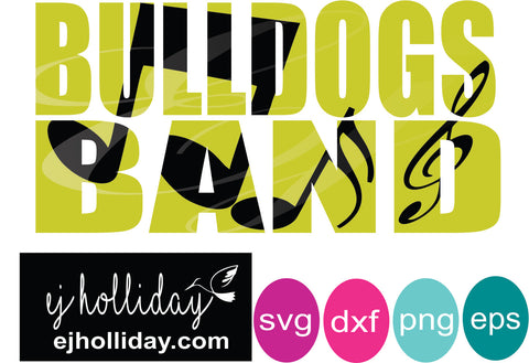 Bulldogs Band knockout svg dxf eps png Vector Graphic Design Digital Cutting File Instant Download Cameo Silhouette Cricut