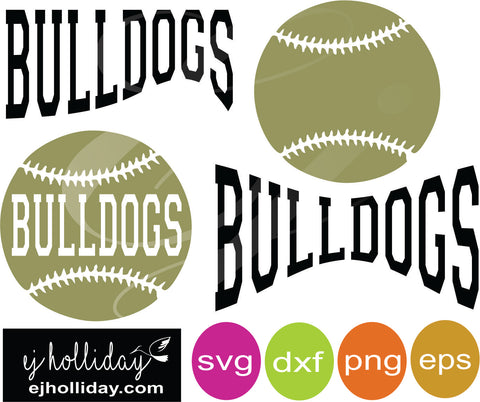 Bulldogs Baseball svg dxf eps png Vector Graphic Design Digital Cutting File Instant Download Cameo Silhouette Cricut