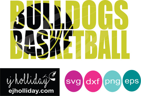 Bulldogs Basketball Knockout svg dxf eps png Vector Graphic Design Digital Cutting File Instant Download Cameo Silhouette Cricut