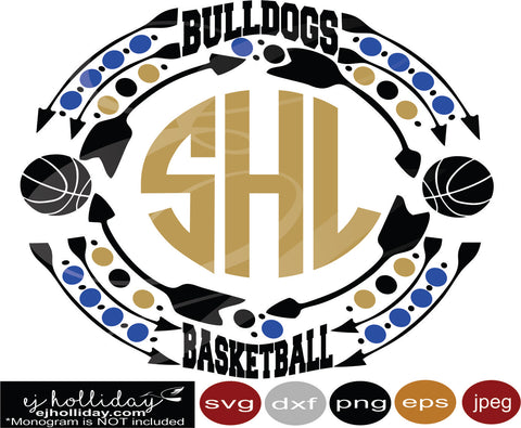Bulldogs Basketball Monogram Frame svg dxf eps png jpeg jpg Vector Graphic Design Digital Cutting File Instant Download Cameo Silhouette Cricut
