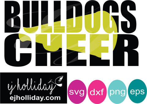 Bulldogs Cheer knockout svg dxf eps png Vector Graphic Design Digital Cutting File Instant Download Cameo Silhouette Cricut