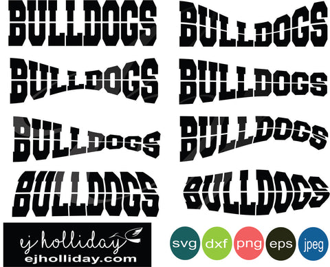Bulldogs Curved Split Design svg eps jpeg jpg png dxf Graphic Design Digital Cutting File Instant Download Cameo Silhouette Cricut