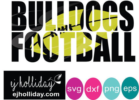 Bulldogs Football knockout svg svg dxf eps png Vector Graphic Design Digital Cutting File Instant Download Cameo Silhouette Cricut