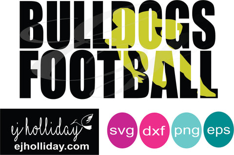 Bulldogs Football knockout svg dxf eps png Vector Graphic Design Digital Cutting File Instant Download Cameo Silhouette Cricut