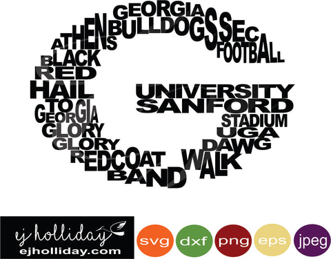 Bulldogs Georgia Football 18 svg eps jpeg jpg png dxf Graphic Design Digital Cutting File Instant Download Cameo Silhouette Cricut