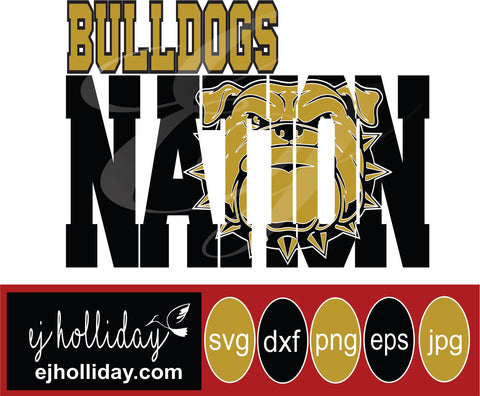Bulldogs Nation bulldog mascot 19 svg eps png dxf jpeg jpg vector Graphic Design Digital Cutting File Instant Download Cameo Silhouette Cricut