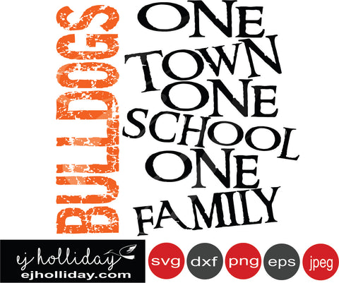 Bulldogs Orange One town One school One family 19 SVG EPS DXF JPG JPEG VECTOR Graphic Design Digital Cutting File Instant Download Cameo Silhouette Cricut