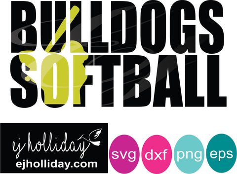Bulldogs Softball knockout svg dxf eps png Vector Graphic Design Digital Cutting File Instant Download Cameo Silhouette Cricut