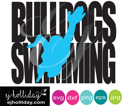 Bulldogs Swimming knockout svg dxf eps png jpg Vector Graphic Design Digital Cutting File Instant Download Cameo Silhouette Cricut