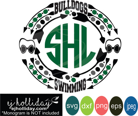 Bulldogs Swimming high school swim team svg dxf eps png jpg Vector Graphic Design Digital Cutting File Instant Download Cameo Silhouette Cricut