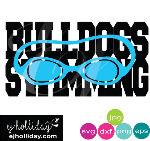 Bulldogs Swimming with goggles knockout svg dxf eps png jpg Vector Graphic Design Digital Cutting File Instant Download Cameo Silhouette Cricut