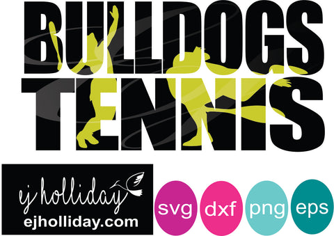 Bulldogs Tennis knockout svg dxf eps png Vector Graphic Design Digital Cutting File Instant Download Cameo Silhouette Cricut