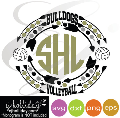 Bulldogs Volleyball sports monogram frame SVG EPS DXF PNG VECTOR Graphic Design Digital Cutting File Instant Download Cameo Silhouette Cricut