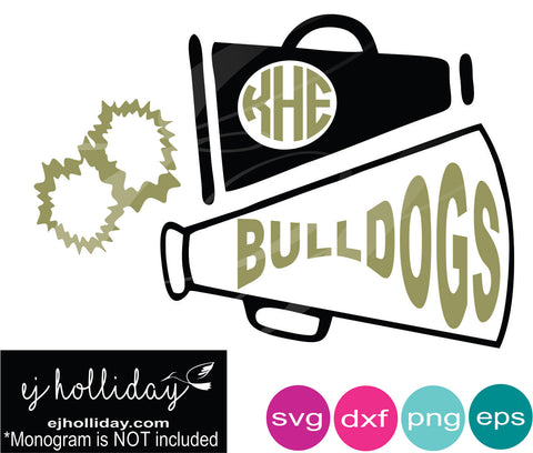 Bulldogs megaphone monogram pom pom cheer svg dxf eps png Vector Graphic Design Digital Cutting File Instant Download Cameo Silhouette Cricut